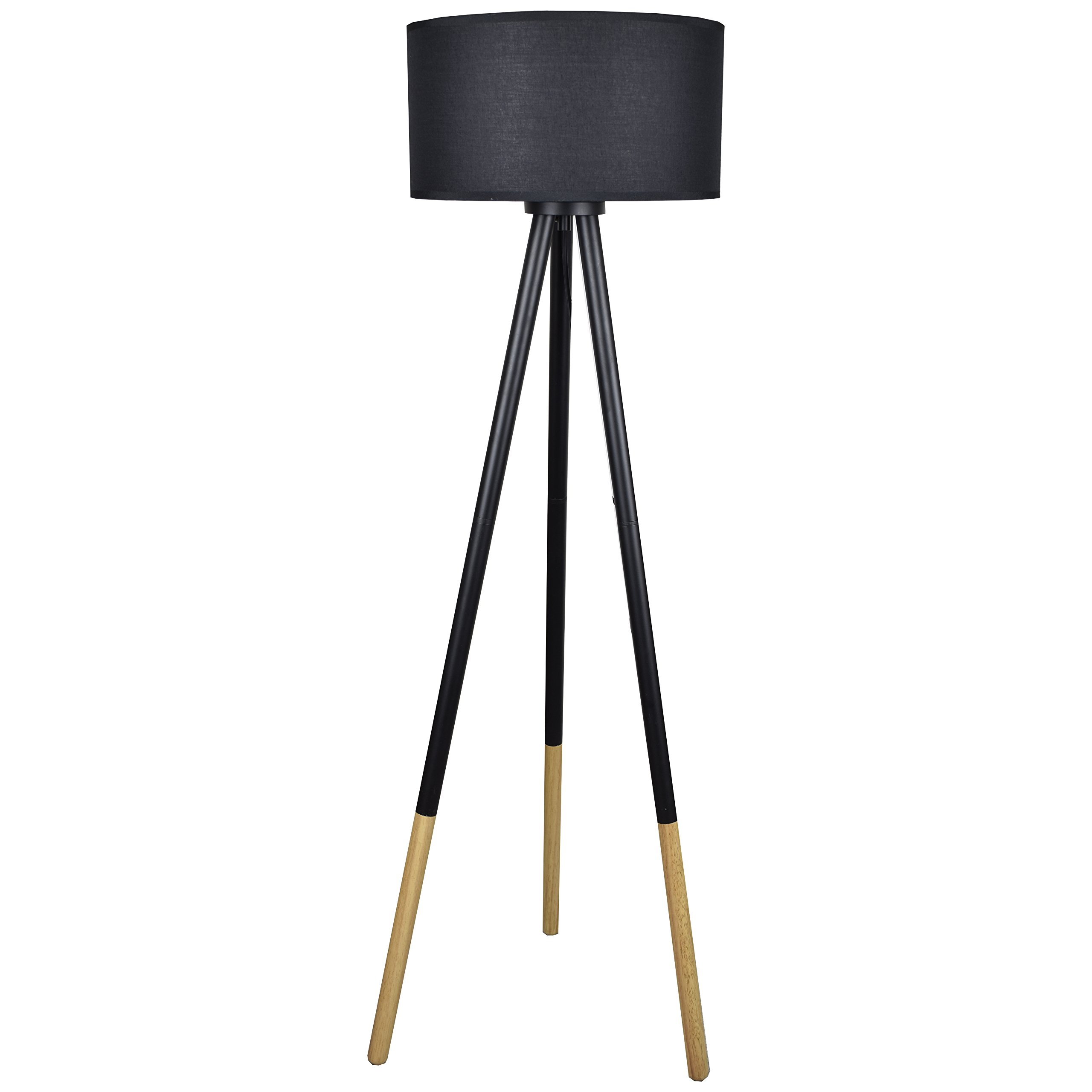 Light Accents Tripod Floor Lamp Stockholm Wood and Metal Pole Lamp with Textured Linen Shade – Torchiere Lamp – Standing Light (Black)