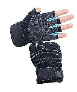 Lamore Unisex Damen Herren Sport Fitness Motorrad Radfahren Halffinger Handschuhe,Handgelenk-Schutz,Anti-Rutsch,ideal für alle Outdoor/Indoor Aktivitäten