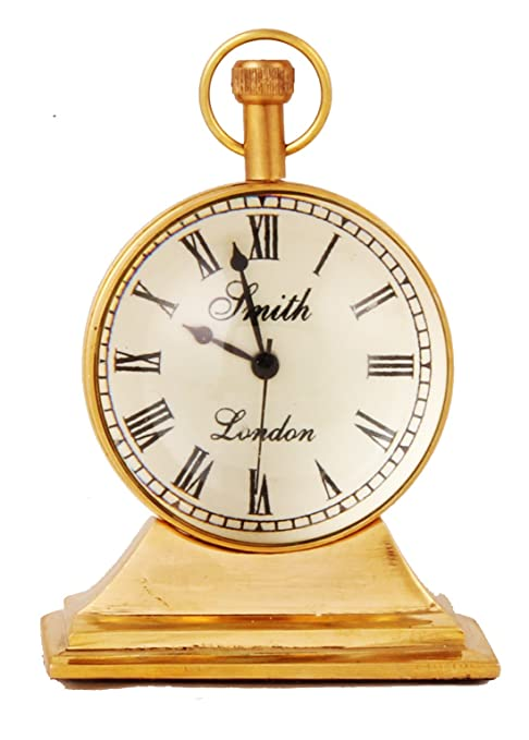 Clock/Watch/Antique Look Table Clock, Made From Brass, Desk Clock, Unique Gifts by K2SN