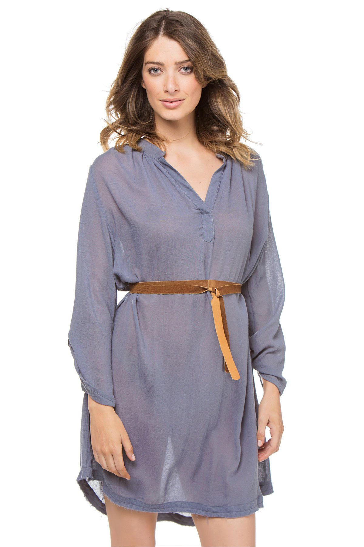 Eberjey Women's Summer Of Love Long Sleeve Dress Swim Cover Up Flint Stone S/M