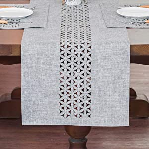 ARTABLE Rectangle Table Runners Fabric Gray Home Garden Table Runner with Well-Trimmed Edge for Picnics Indoor and Outdoor Dining Holiday Long Tables (Gray, 16 x 84 Inch)