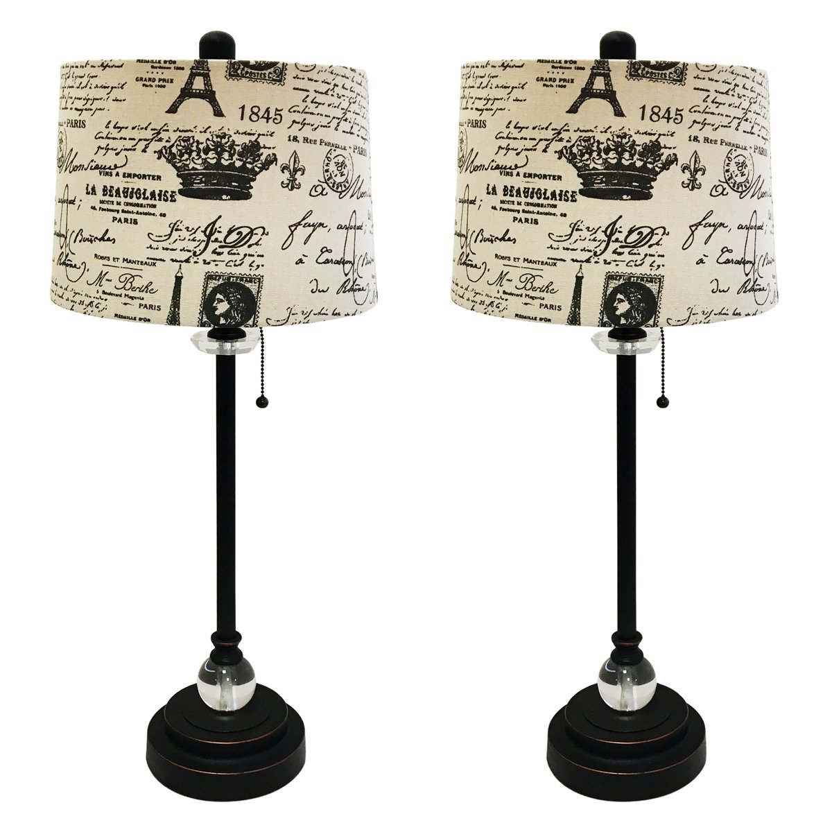 Royal Designs 28'' Crystal and Oil Rub Bronze Lamp with Eggshell and Black Vintage French Print Drum Hardback Lamp Shade, Set of 2 by Royal Designs, Inc