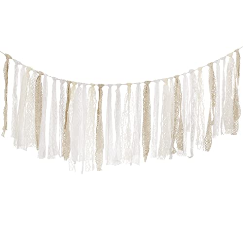 lings moment burlap lace tassel garland lace rig tie burlap banner for baby shower rustic wedding
