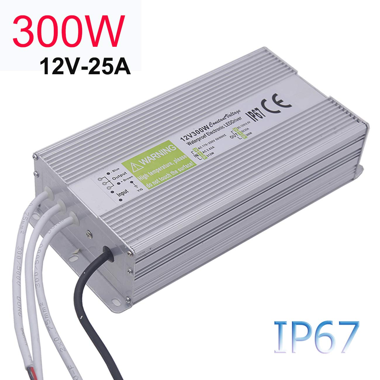 LED Driver 300W, EAGWELL Waterproof IP67 Power Supply 12V 25A DC Transformer Adapter Thinner and Durable Low Voltage Power Supply for LED Light, Computer Project, Outdoor Light