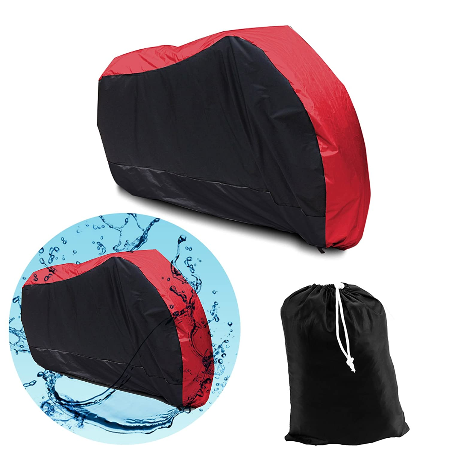 Black Red SurePromise Motorcycle Motorbike Waterproof Breathable Cover Outdoor Indoor Extra Large With Storage Bag 245 x 105 x 125 Centimeter
