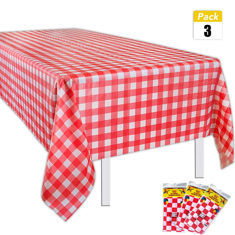Set of 3 Plastic Red and White Checkered Tablecloths - Picnic Table Covers 54'' x 108''