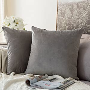 MIULEE Pack of 2 Velvet Pillow Covers Decorative Square Pillowcase Soft Solid Cushion Case for Sofa Bedroom Car 26 x 26 Inch Grey