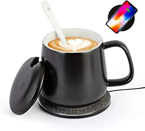 Fansices Coffee Mug Warmer & Phone Wireless charging 2 in 1, Electric Cup Warmer for Office Desk Home Use with Automatic Shut Off Coffee Temperature Heating to 131℉/55℃ for Coffee Gift(Black Cup Set)