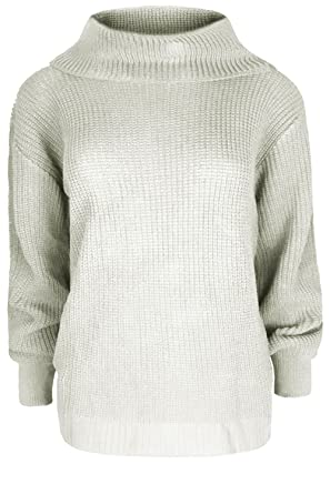 Womens Ladies Chunky Knit Knitted Pullover Long Sleeve Oversized Roll Cowl Neck  Jumper Tops Plus Size: Amazon.co.uk: Clothing