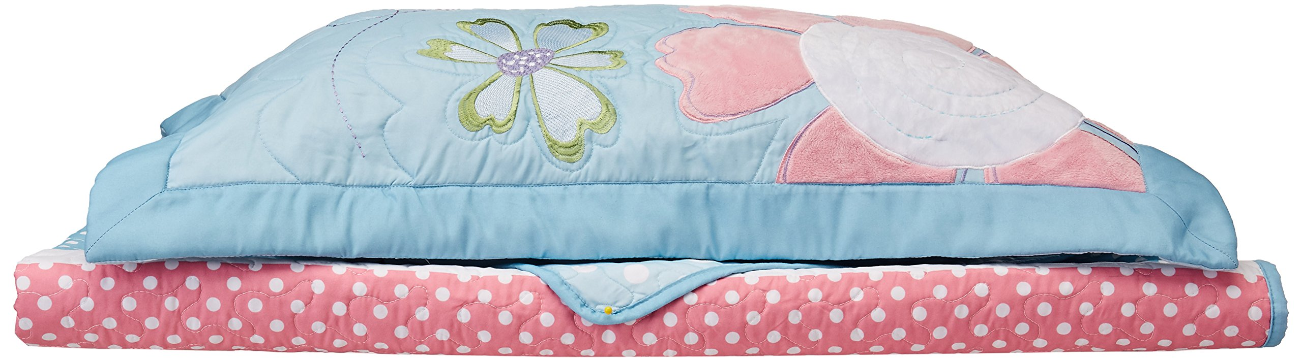 Mi Zone Kids Crazy Daisy Twin Bedding For Girls Quilt Set - Sky Blue, Pink , Flowers, Butterfly – 3 Piece Kids Girls Quilts – Ultra Soft Microfiber Quilt Sets Coverlet