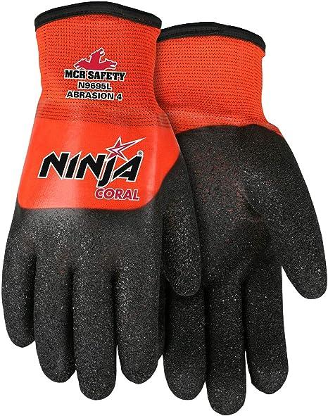 Ninja Coral N9695, 15 Gauge Orange Nylon Shell, Black Coating with Full PVC Dip, XX-Large