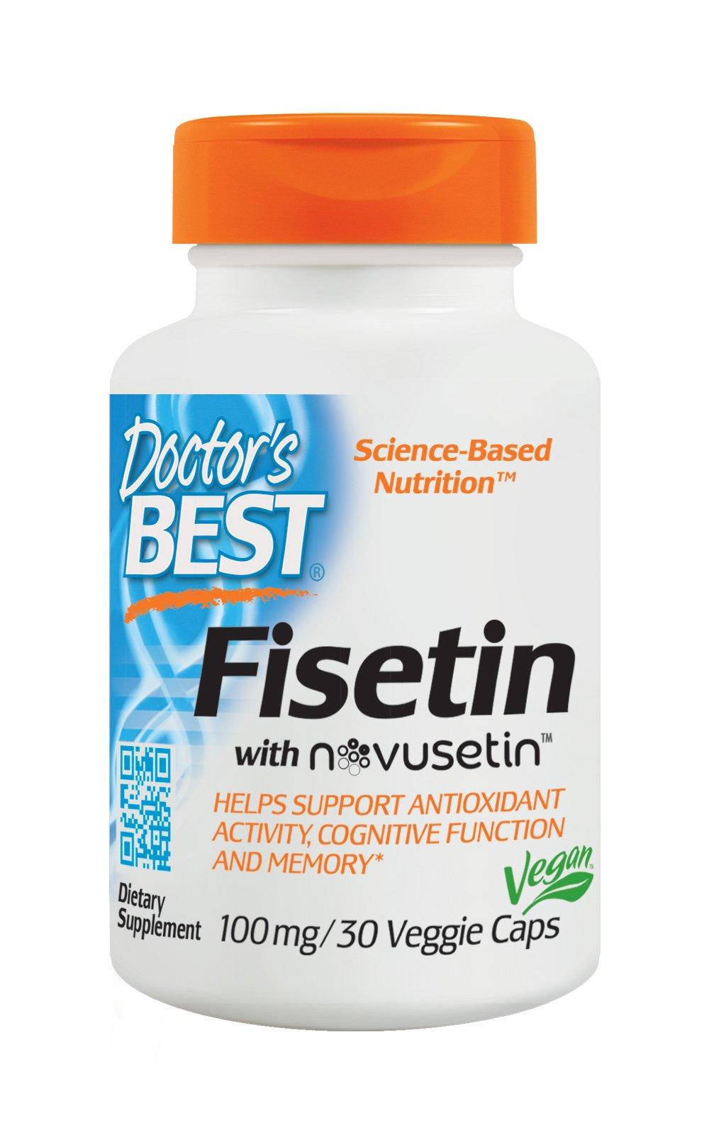 Doctor's Best Fisetin with Novusetin, Non-GMO, Vegan, Gluten Free, Soy Free, 100 mg, 30 Veggie Caps