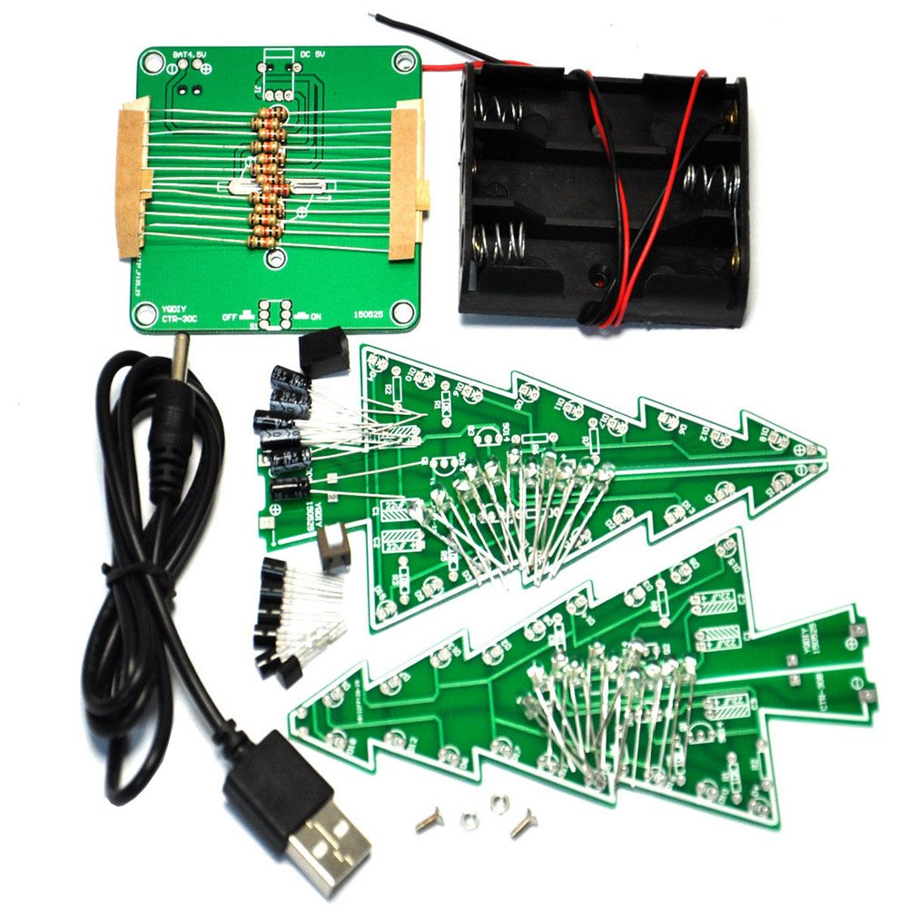 Aideepen 3d Christmas Tree Led Flashing Light Diy Kit 3 Colors Red You Now Have A Simple Circuit Green Yellow Flash Without Batteries