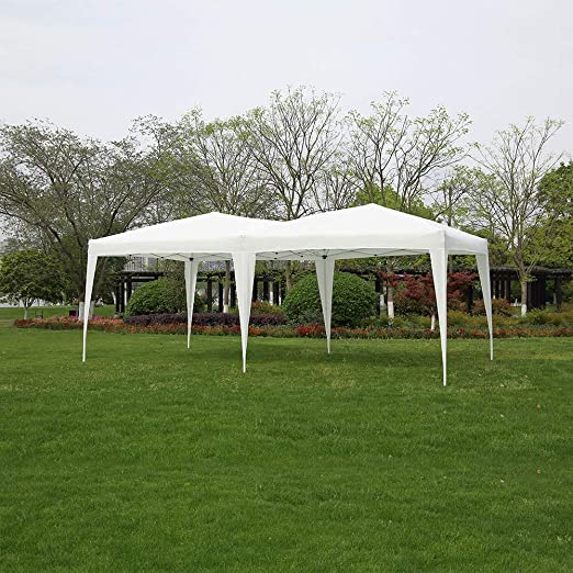 Panana - Carpas Cenadores 6x3m para Jardín Terraza Fiesta Eventos Cumpleaños Bodas Pabellón Gazebo Plegable Impermeable PE (Blanco): Amazon.es: Jardín
