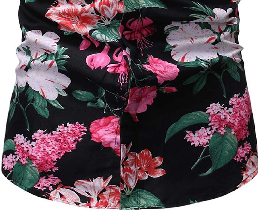 Zantt Mens Button Down Flower Printed Hawaiian Shirts Short Sleeve Beach Shirt