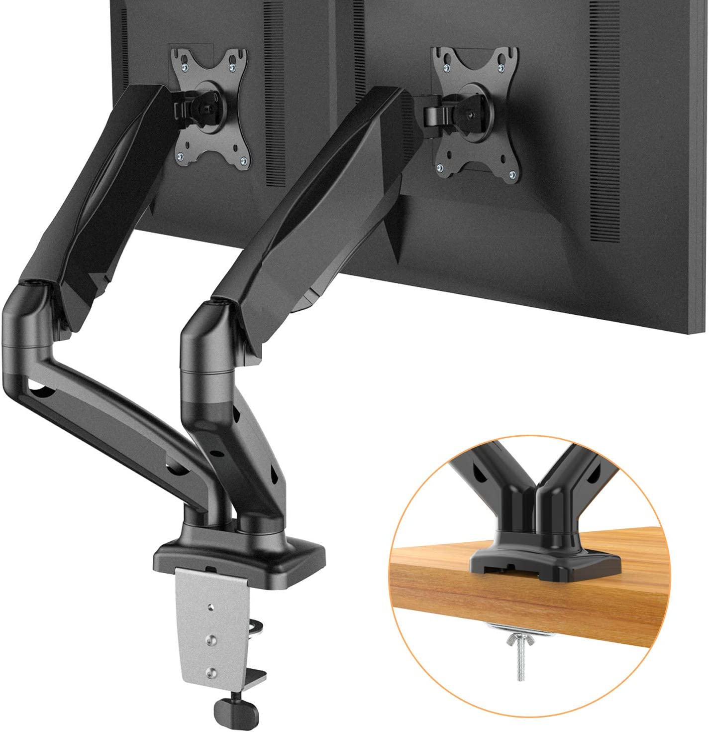 Dual Arm Monitor Stand - Adjustable Gas Spring Computer Desk Mount VESA Bracket with C Clamp/Grommet Mounting Base for 13 to 27 Inch Computer Screens - Each Arm Holds up to 14.3lbs