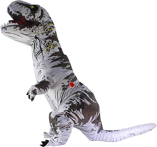 Halloween adulto inflable T Rex Dinosaur Partido traje Funny Dress Blanco con mochila y cable USB