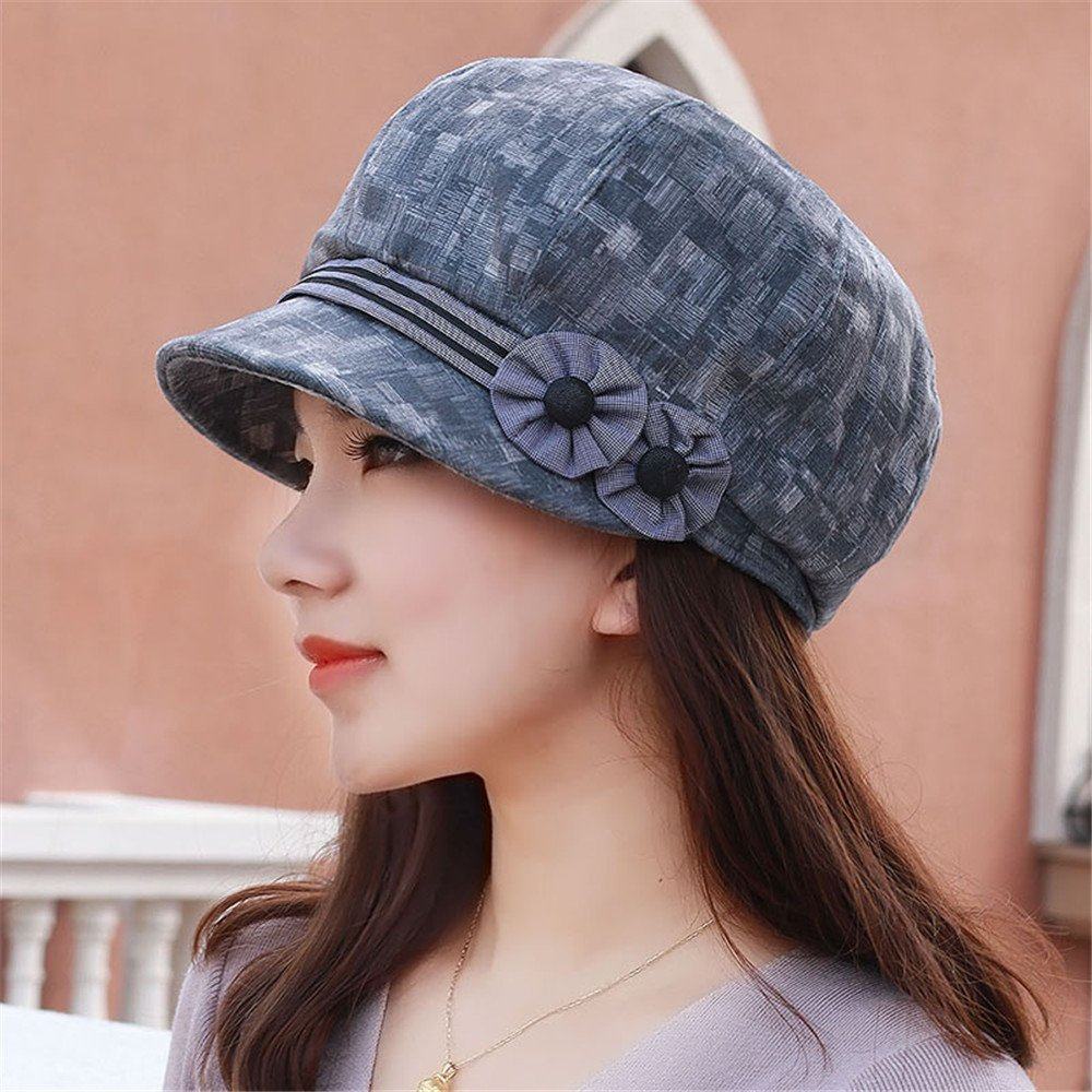 Ms. Winter Hat women folk style flower India youth mother cap octagonal cap hat for thin Bailey peaked cap adjustable head circumference: 54-57cm),Adjustable size (54-57cm),gray