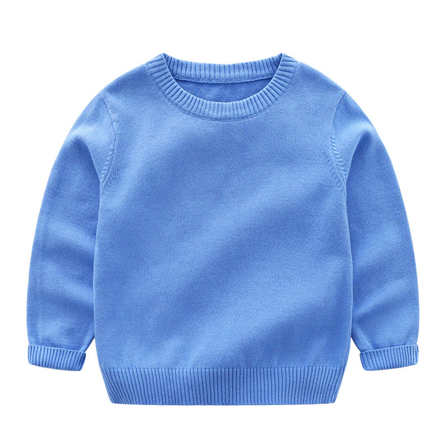 Gail Jonson Boys Girls Sweater Kids Pullover Solid Color Knitwear O-Neck Long-Sleeve 1-10 Years Blue 10T