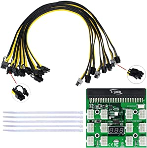 S-Union Ethereum ETH ZEC Mining Power Supply 12V GPU/PSU Breakout Board + 8 pcs 16AWG PCI-E 6Pin to 6+2Pin Cables 27.5Inch Length(70CM, with 5 Nylon Cable Ties)