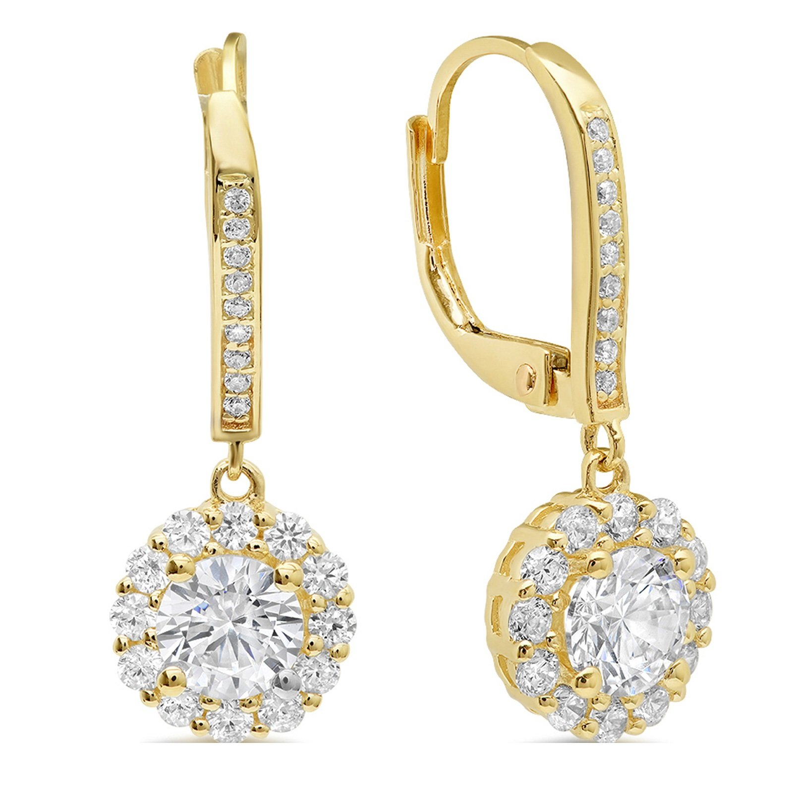 3.70 CT ROUND CUT Simulated Diamond Solitaire Halo PAVE DROP DANGLE LEVERBACK EARRINGS 14K Yellow GOLD
