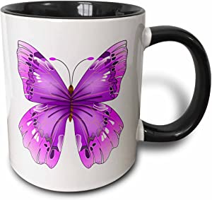 "3dRose mug_62044_4""Large Purple Butterfly"" Two Tone Black Mug, 11 oz, Multicolor"