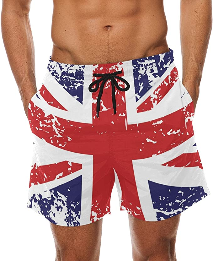 visesunny Retro American Flag Print Summer Mens Swimtrunks Quick Dry Casual Mesh Lining Beach Board Shorts S-XXL
