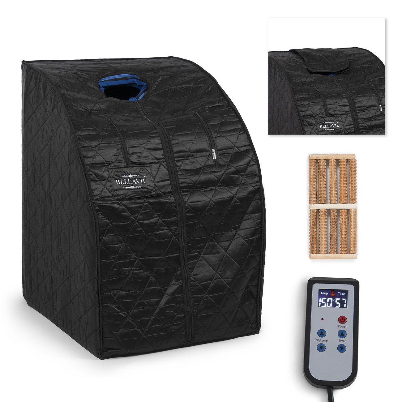 Bellavie Portable Therapeutic Infrared Sauna Spa XL FIR Full Body Portable w/ Chair (Black)