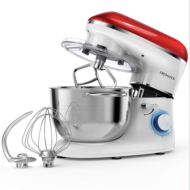 Robot de cocina, amasadora (1400 W, con bol de acero inoxidable de 5,5 L, amasador, batidor,varillas y protección para salpicaduras, 6 velocidades, silencioso) rojo/blanco: Amazon.es: Hogar