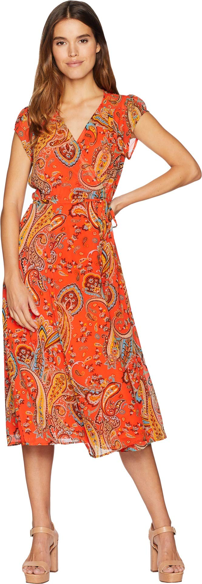 Juicy Couture Women's Rustic Paisley Wrap Dress Hazy Summer Rustic Large