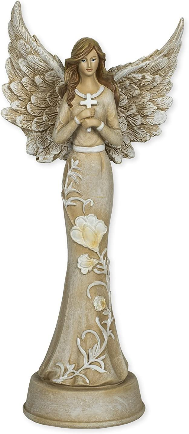 Embossed Blossom Flowers Angel 11 inch Resin Stone Table Top Figurine Statue