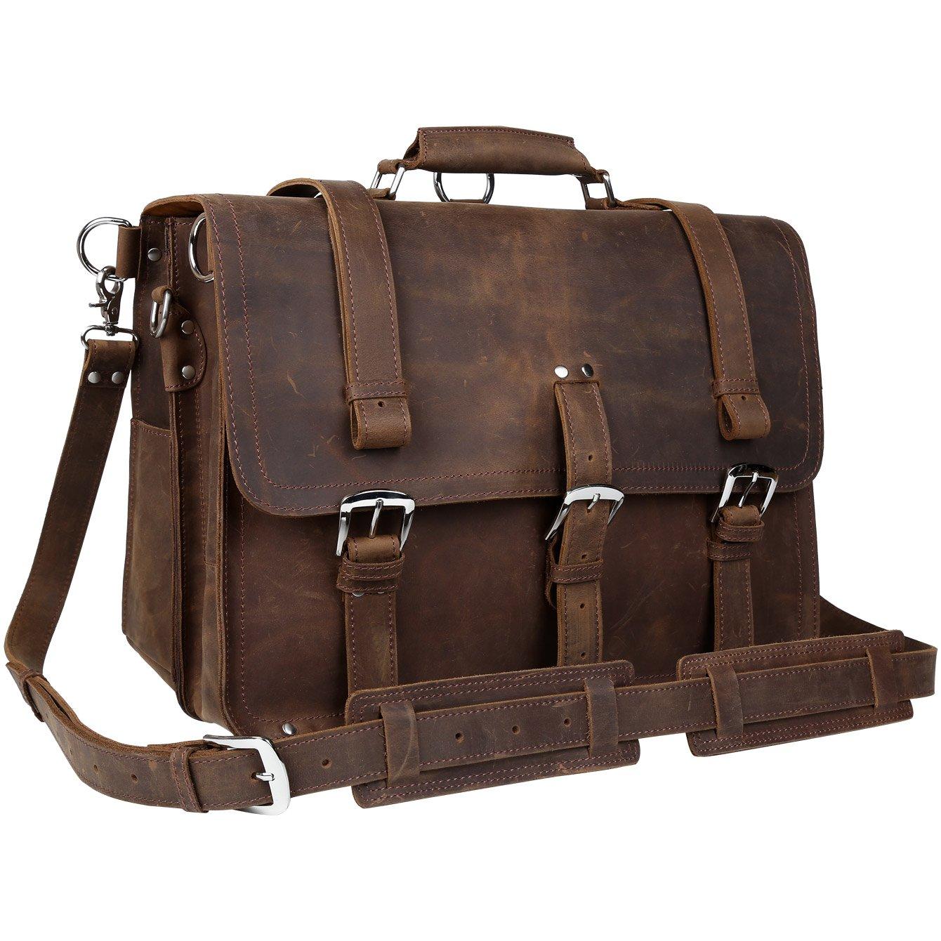 BAIGIO Vintage Leather Luggage Backpack Briefcase Travel Carryon Shoulder Bag (Brown)