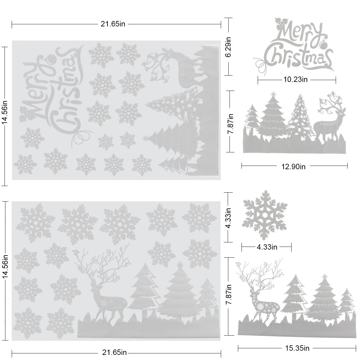 Christmas Window Decals Stickers,White Christmas Tree Snowflakes reindeer Window Clings Decal Stickers Xmas Winter Wonderland Decorations Ornaments Party Supplies