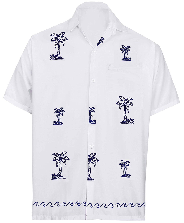 LA LEELA Shirt Casual Button Down Short Sleeve Beach Shirt Men Embroidered 125