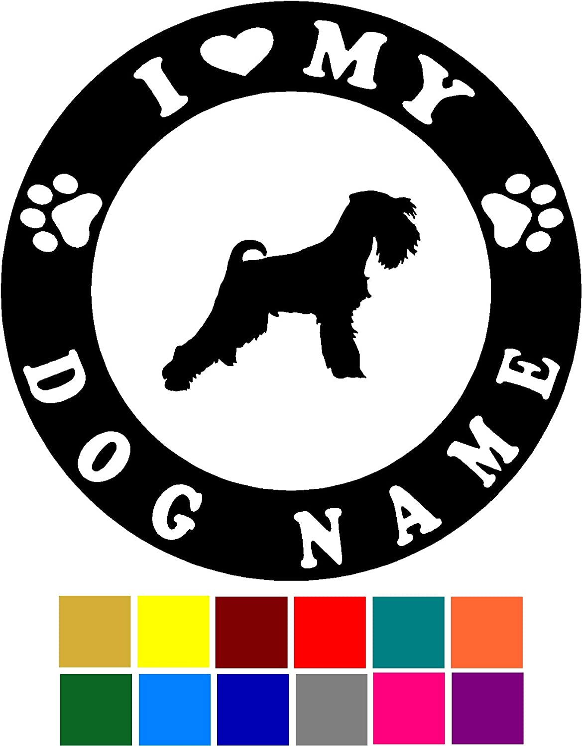 Choose Color V and T Gifts I Love My Miniature Schnauzer Dog Name Custom Decal