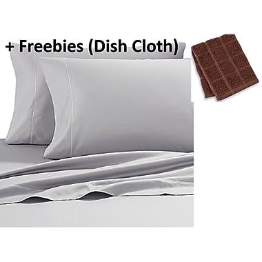 Wamsutta 500-Thread-Count PimaCott KING Sheet Set in SILVER + Freebies (Dish Cloth)