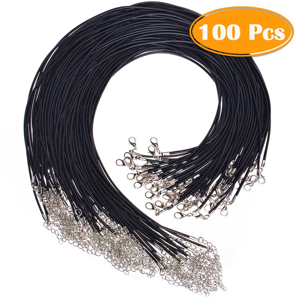 Paxcoo 100Pcs Black Waxed Necklace Cord with Clasp Bulk for Bracelet Necklace and Jewelry Making (20 Inches) 4336827944
