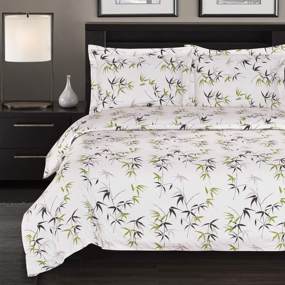 Luxury 300 Thread Count Full/Queen Sized Bamboo Tree Printed Duvet Set; Tropical Printed 100% Pure Cotton Fabric
