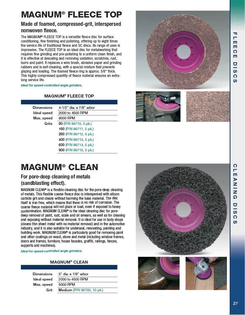 CS Unitec 96711 Magnum Fleece Top Finishing and Polishing Disc, 4-1/2'' Diameter, 7/8'' Arbor, 180 Grit (Pack of 5)