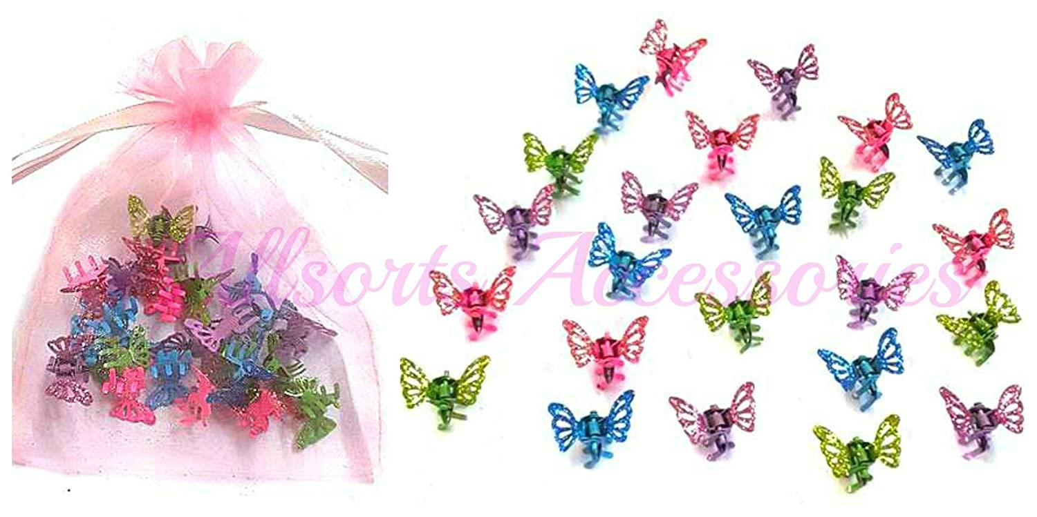 Allsorts® 24 Mini Glitter Butterfly Hair Clamps Girls Hair Accessory Hair Grips Clips by Allsorts®