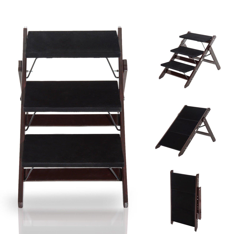 GHP 2-in-1 Convertible Dark Brown Pine Wood 3-Step Pet Dog Step Ladder Stairs Ramp