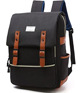 9e8ba4439633 Apiidoo Unisex Vintage Canvas Leather Backpack Rucksack Laptop School  Bookbags