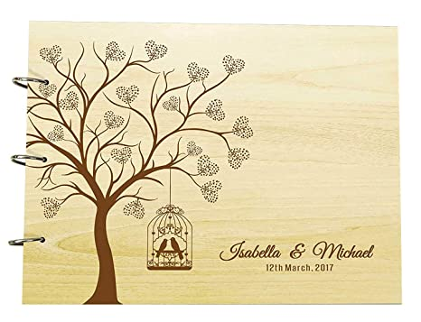 a15a43cacf299 Wedding Guest Book Heart Tree Wood Engraved Name & Date Scrapbook And  Lovebirds Photo Album