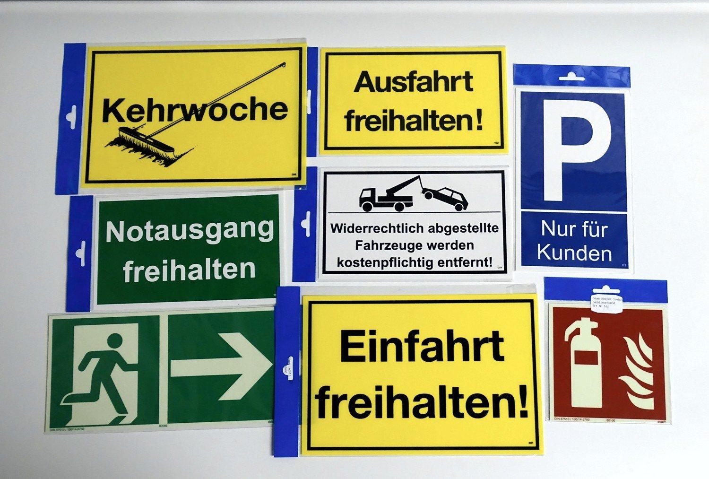 Attention sortie de v/éhicules 150 x 250 mm Panneau de danger indicateur et dinterdiction PST-plastique