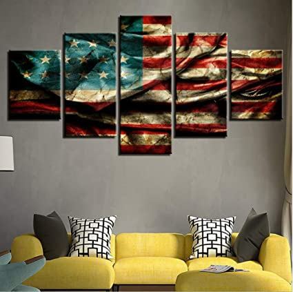 Pandaboom 5 Panel Split Canvas Print Wall Art American Flag Stretched And Framed Home Decor Ready To Hang For Livingroom Bedroom With Frame Amazon Co Uk Kitchen Home