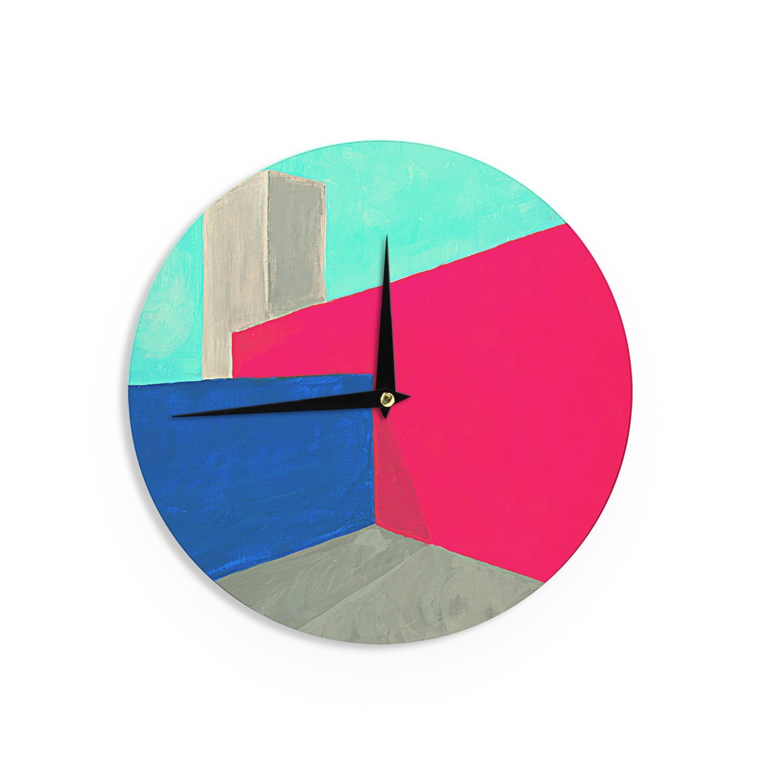 12-Inch Kess InHouse Oriana Cordero Corner Multicolor Geometry Wall Clock