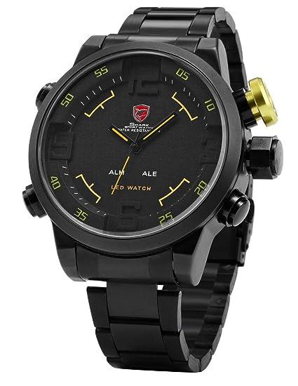 Shark SH107 - LED Reloj Hombre de Cuarzo, Correa de Acero Inoxidable Negro, Esfera Negra: Amazon.es: Relojes