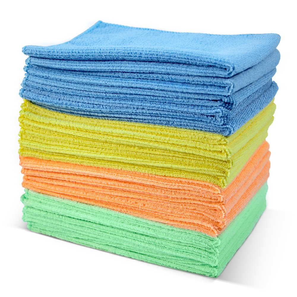 Masthome 4-Colors Clean Rags 20 Pack 16 X 12.2 inch Highly Absorbent Cleaning Cloths No Fabric Soft Microfiber Kitchen Car Cleaning Rags