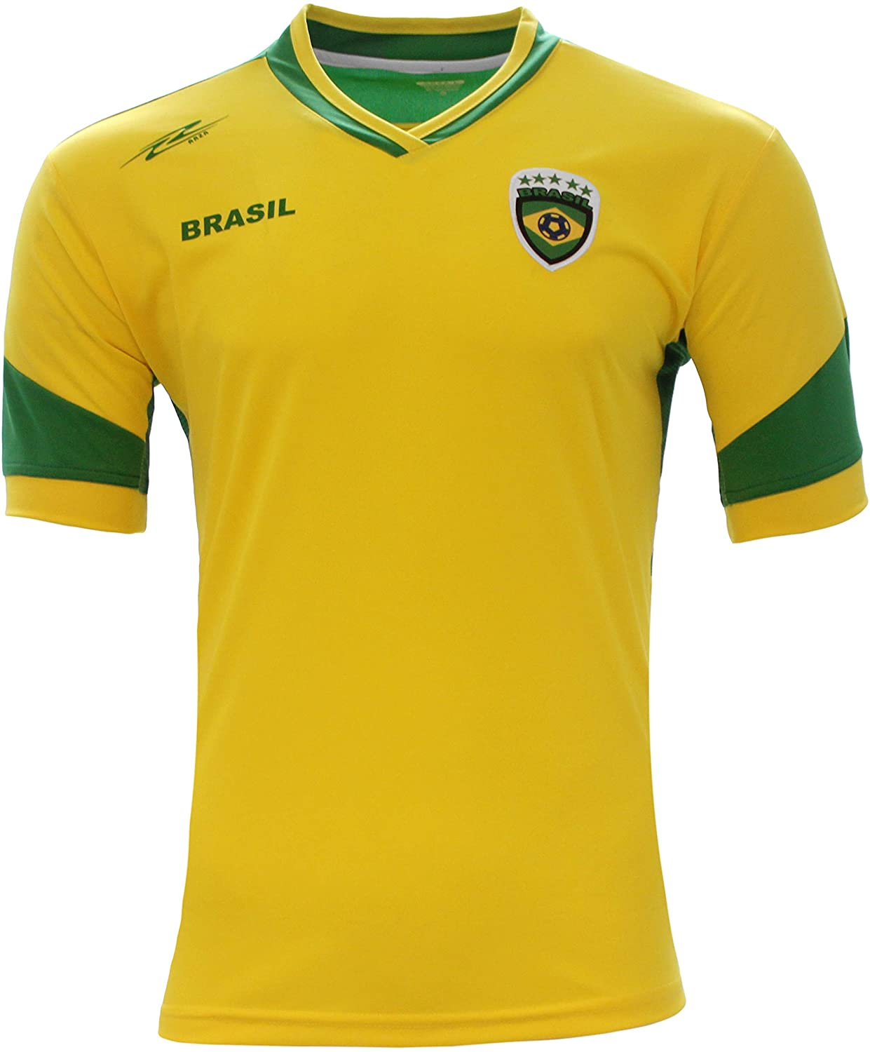 Brazil New Arza Soccer Jersey Yellow/Green 100% Polyester