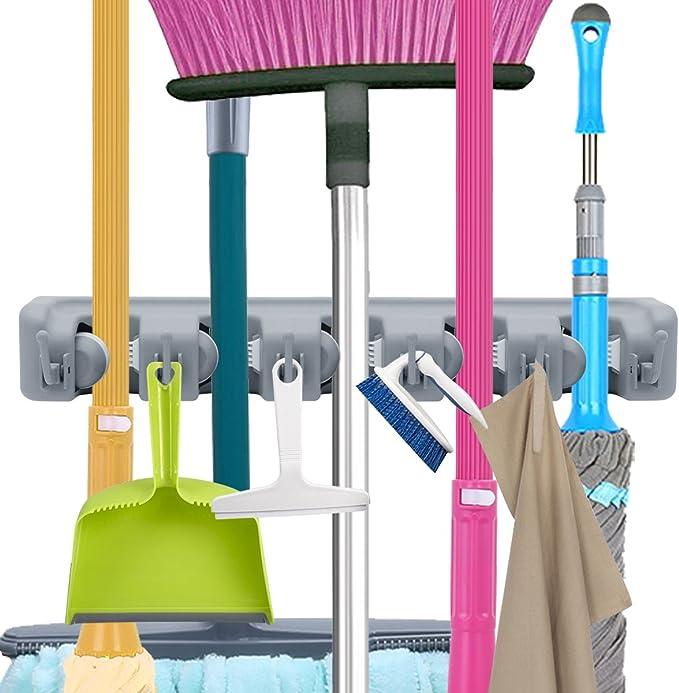 perfekt Mop Besen Ordnungsleiste f/ür Gartenwerkzeug K/üche Badezimmer Garage Wand Ger/ätehalter mit 5 Schnellspannern und 6 Haken PUAIDA Besenhalter